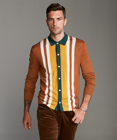 Long Sleeve Merino Vertical Stripe Polo in Camel