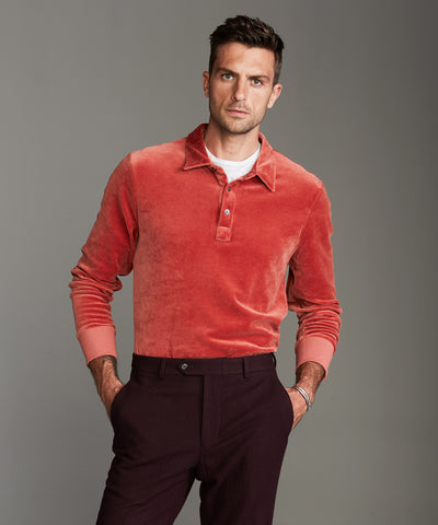 Velour Polo in Tomato Red