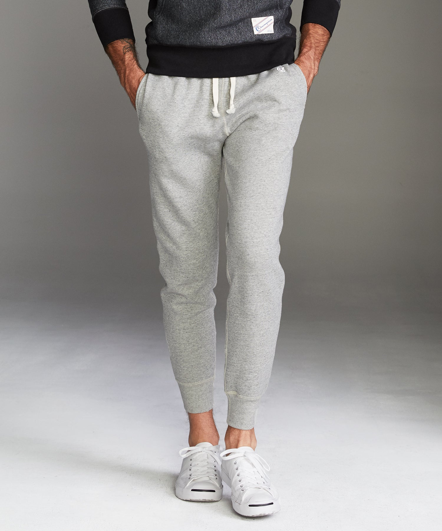 Fleece Slim Jogger Sweatpant in Light Grey Mix