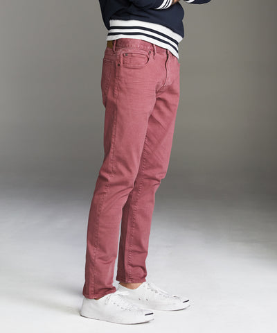 Slim Fit 5-Pocket Garment Dyed Stretch Twill in Mauve