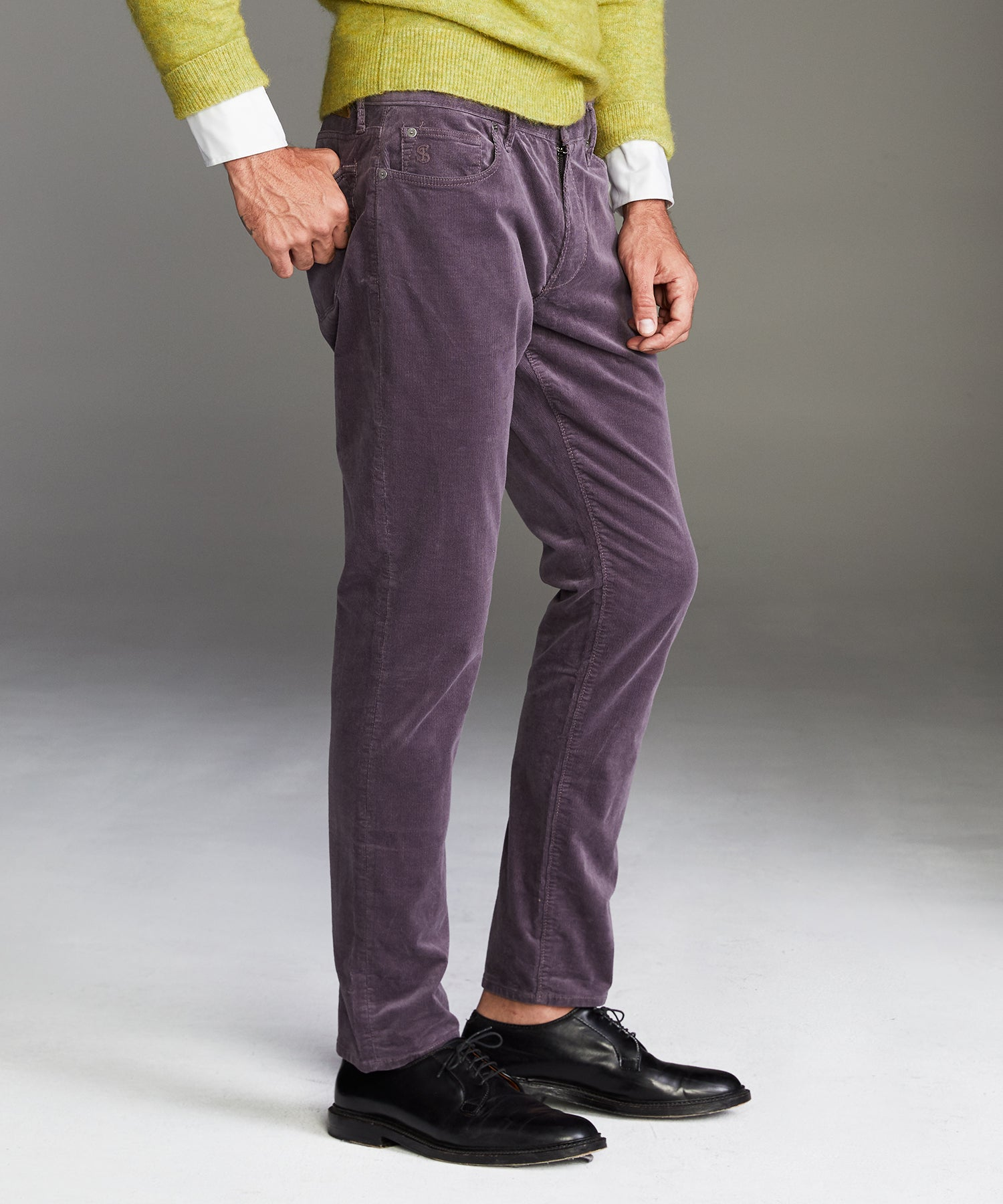 Slim Fit 5-Pocket Italian Stretch Cord in Violet