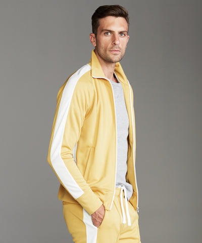 Japanese Striped Track Jacket in Goldenrod