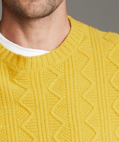 Merino Cable Crew in Yellow