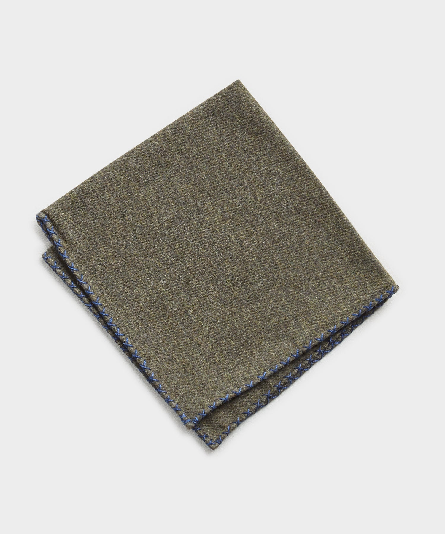 Mungai Cotton Flannel Pocket Square in Dark Green