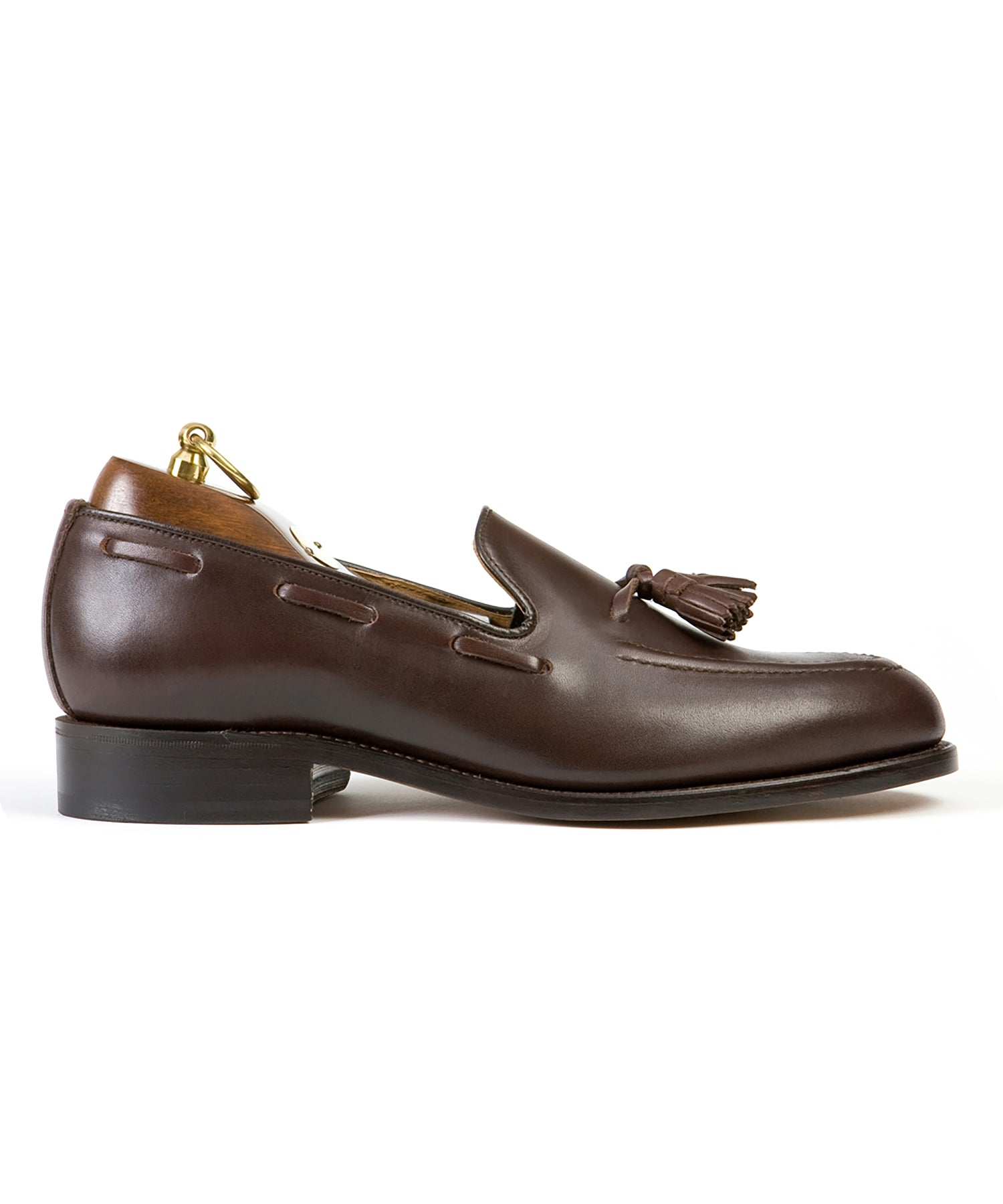 Sanders Finchley Tassel Loafer in Brown Calf Leather