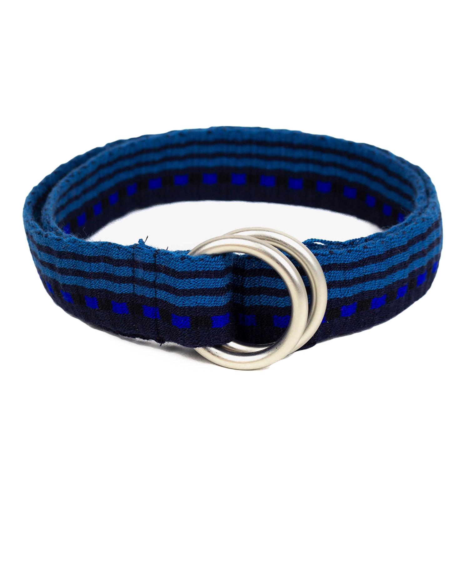 Guanábana Handmade Belt With fringe + Round Buckle in Blue