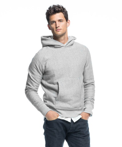 Fleece Popover Hoodie in Light Grey Mix