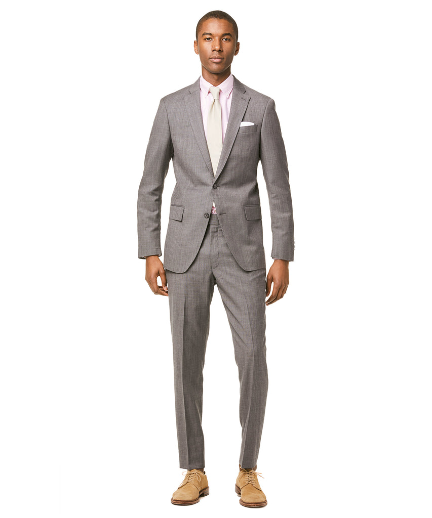 Sutton Stretch Tropical Wool Suit Jacket In Light Charcoal