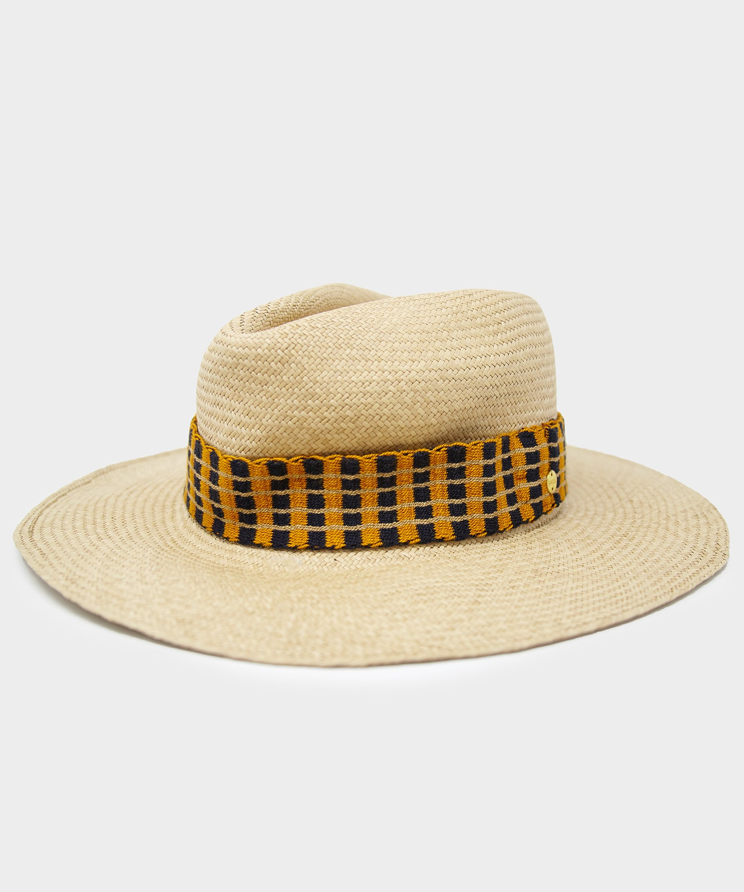 Guanábana Panama Hat with navy and yellow band