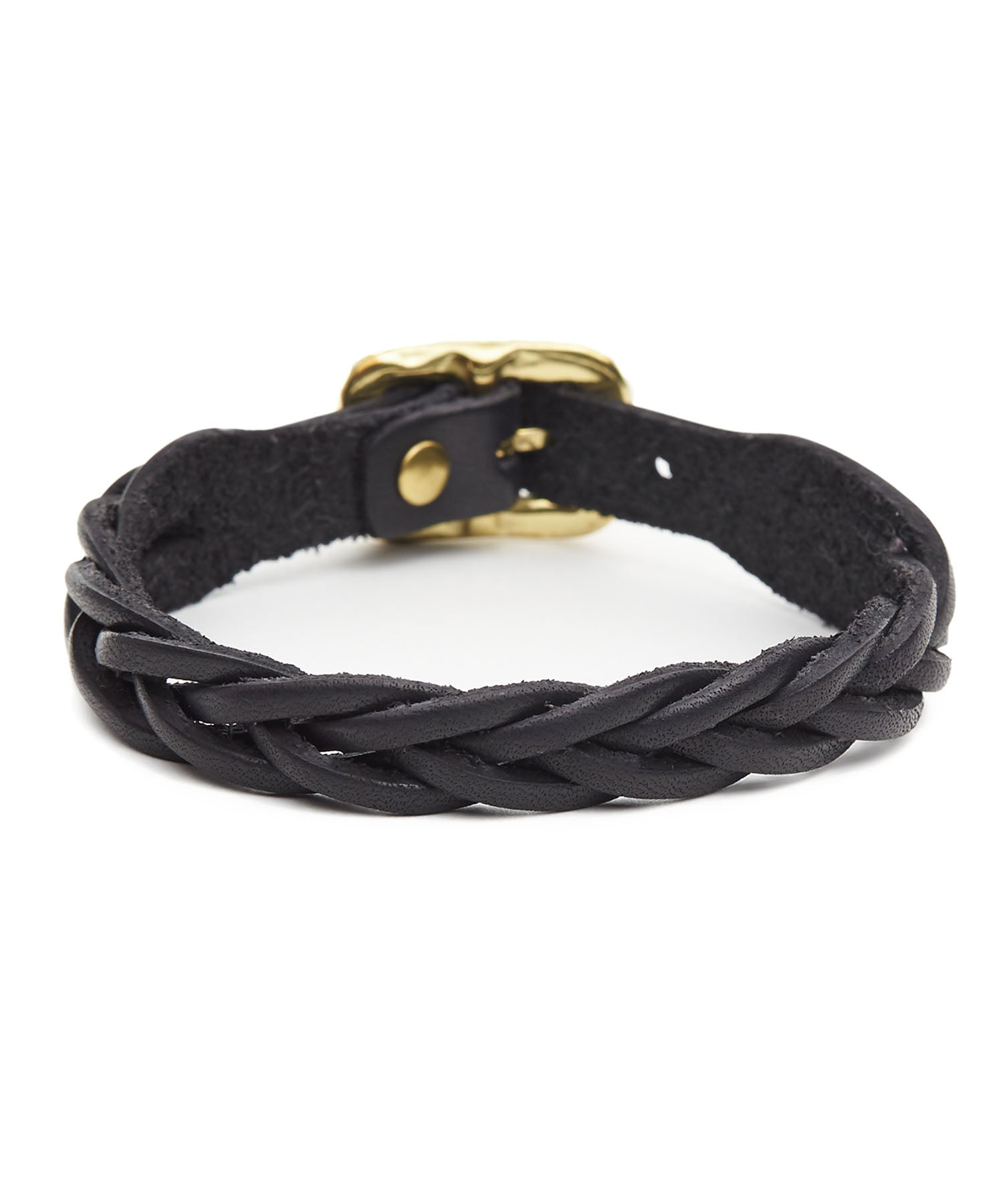 Il Bisonte Braided Cowhide Bracelet in Black