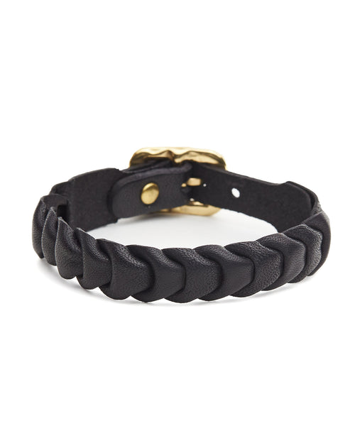 Il Bisonte Fishscale Cowhide Bracelet in Black