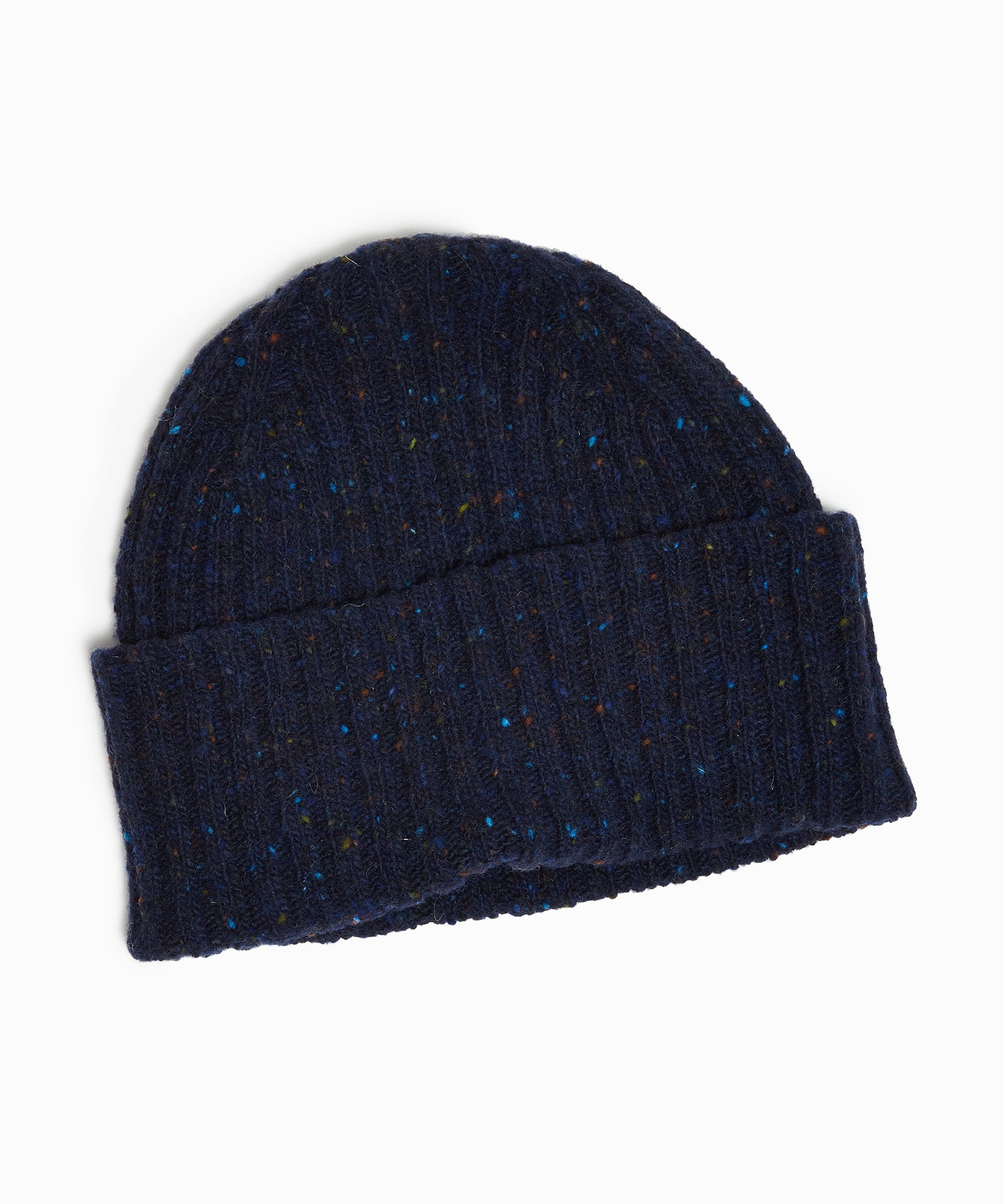 Drake's Lambswool/Angora Ribbed Hat in Navy