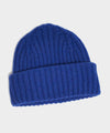 Drake's Lambswool/Angora Ribbed Hat in Blue