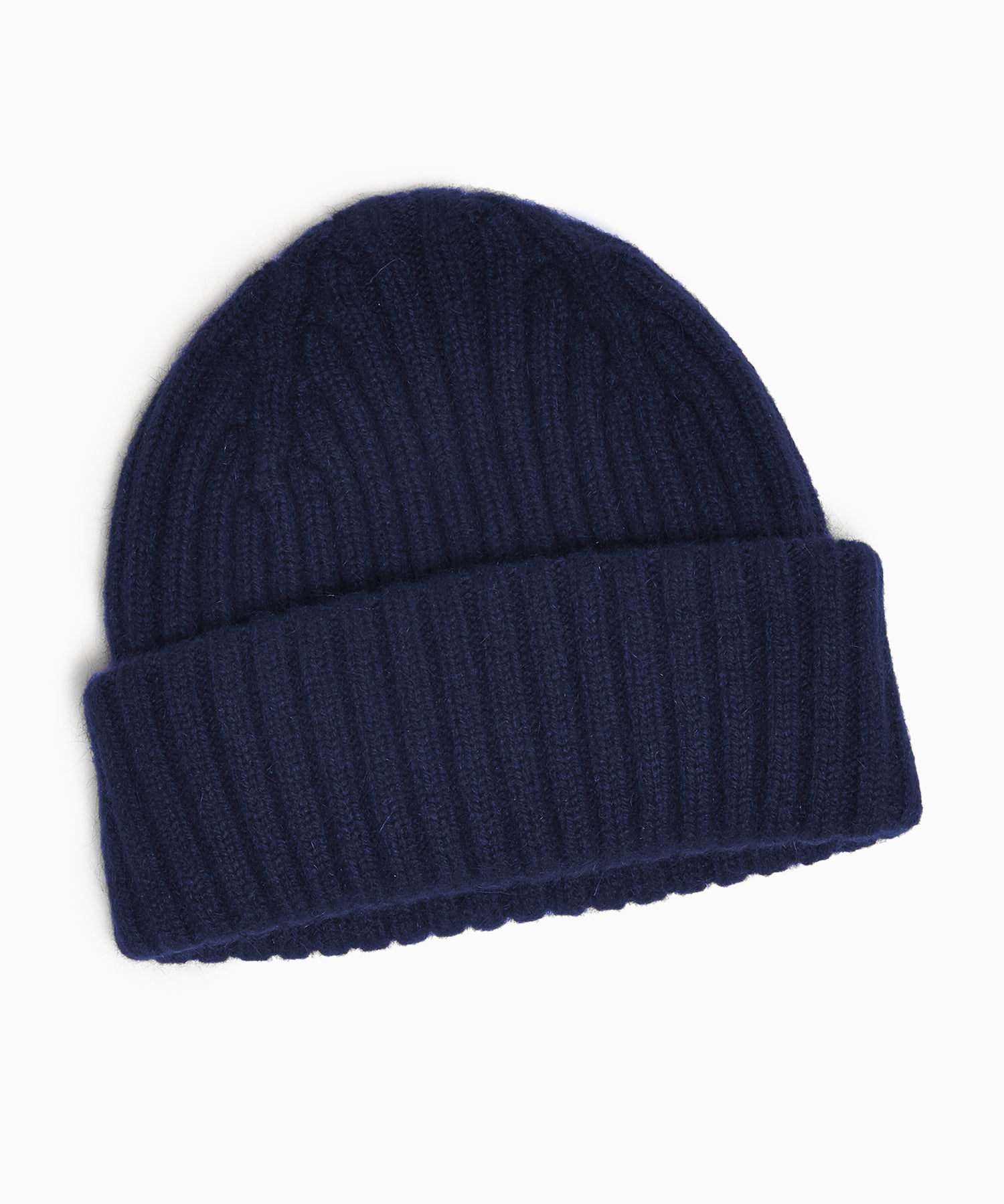 Drakes Lambswool Angora Rib Hat in Navy