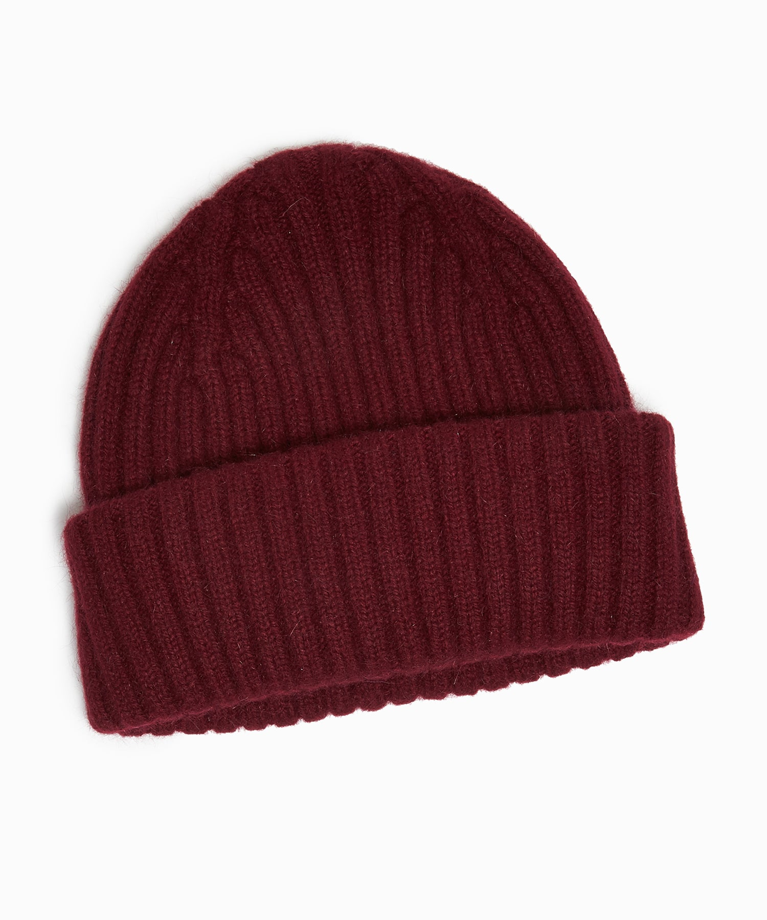 Drake's Lambswool/Angora Ribbed Hat in Wine