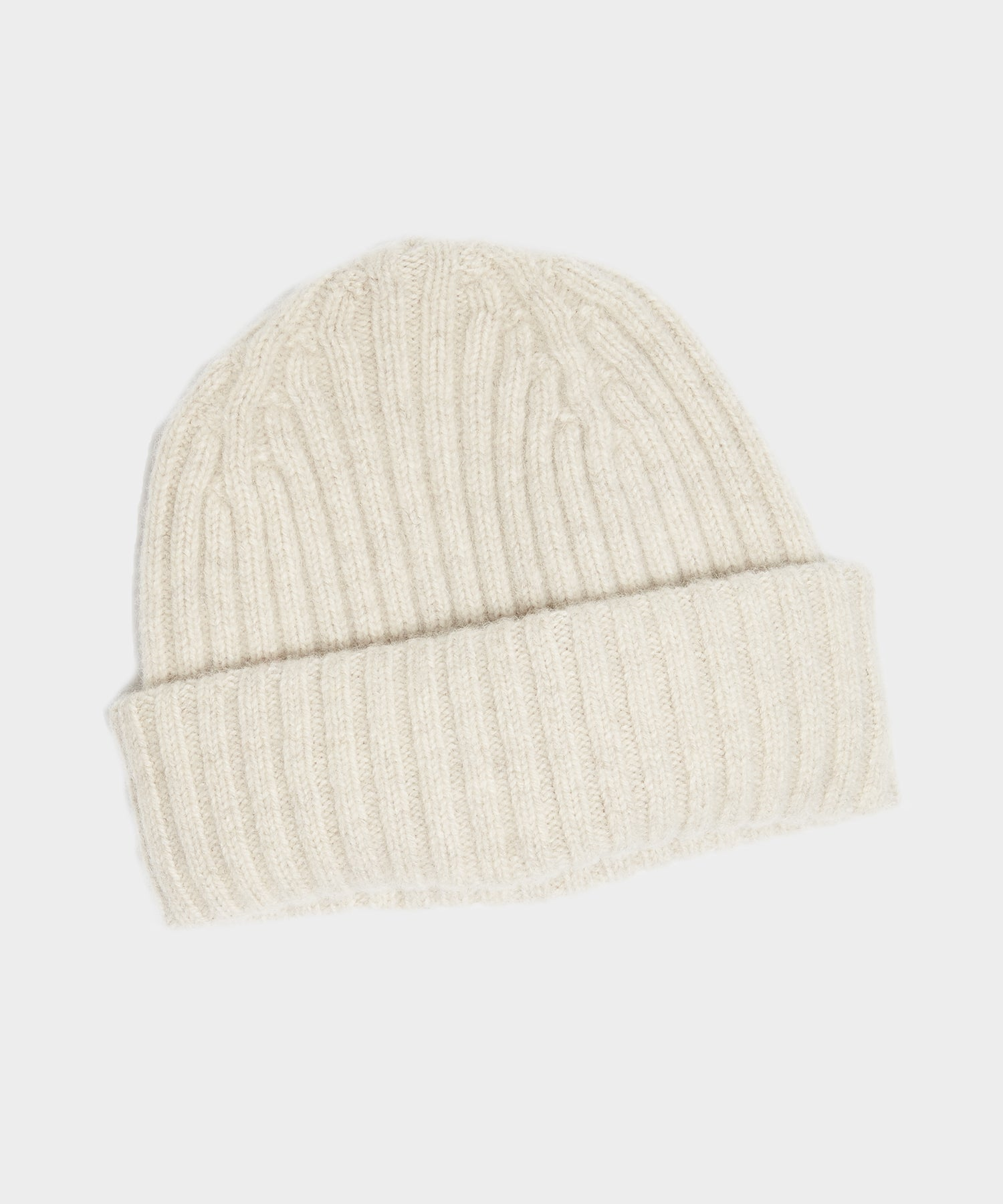 Drake's Lambswool/Angora Ribbed Hat in Natural
