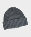 Drake's Lambswool/Angora Ribbed Beanie in Grey