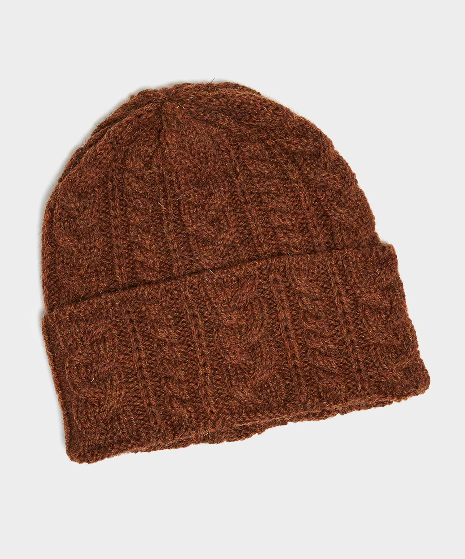 Drake's Cable Wool Hat in Rust