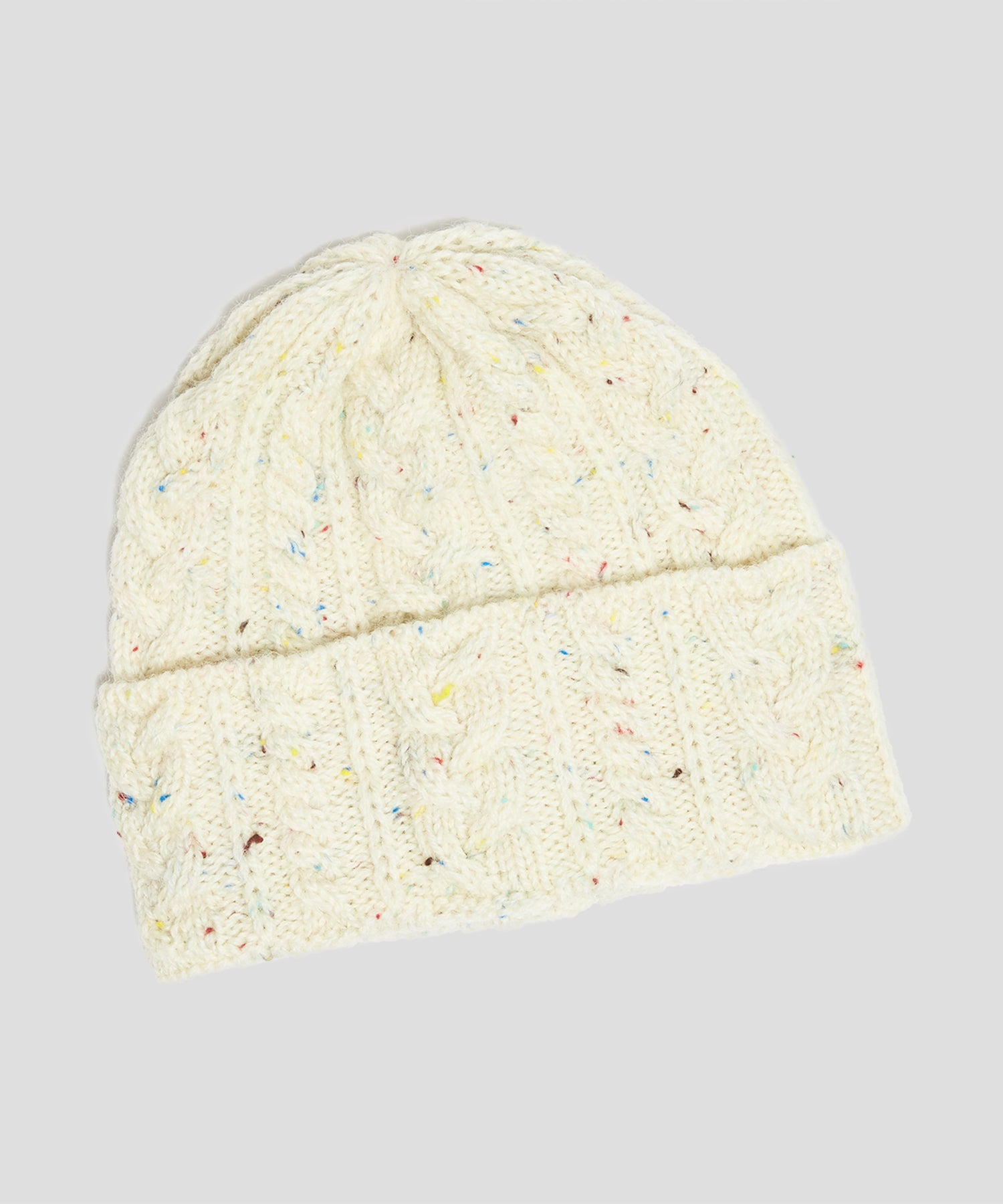 Drake's Wool Cable Hat in White