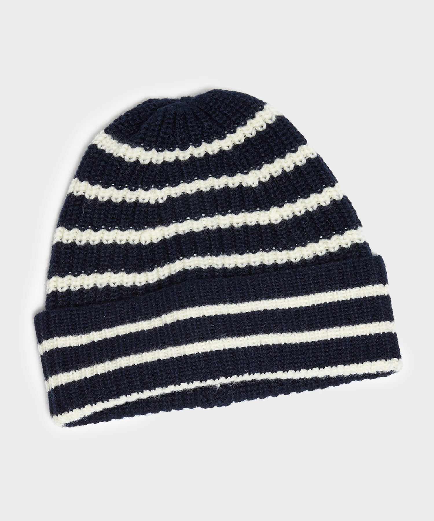 Drake's Lambswool Stripe Beanie in Navy