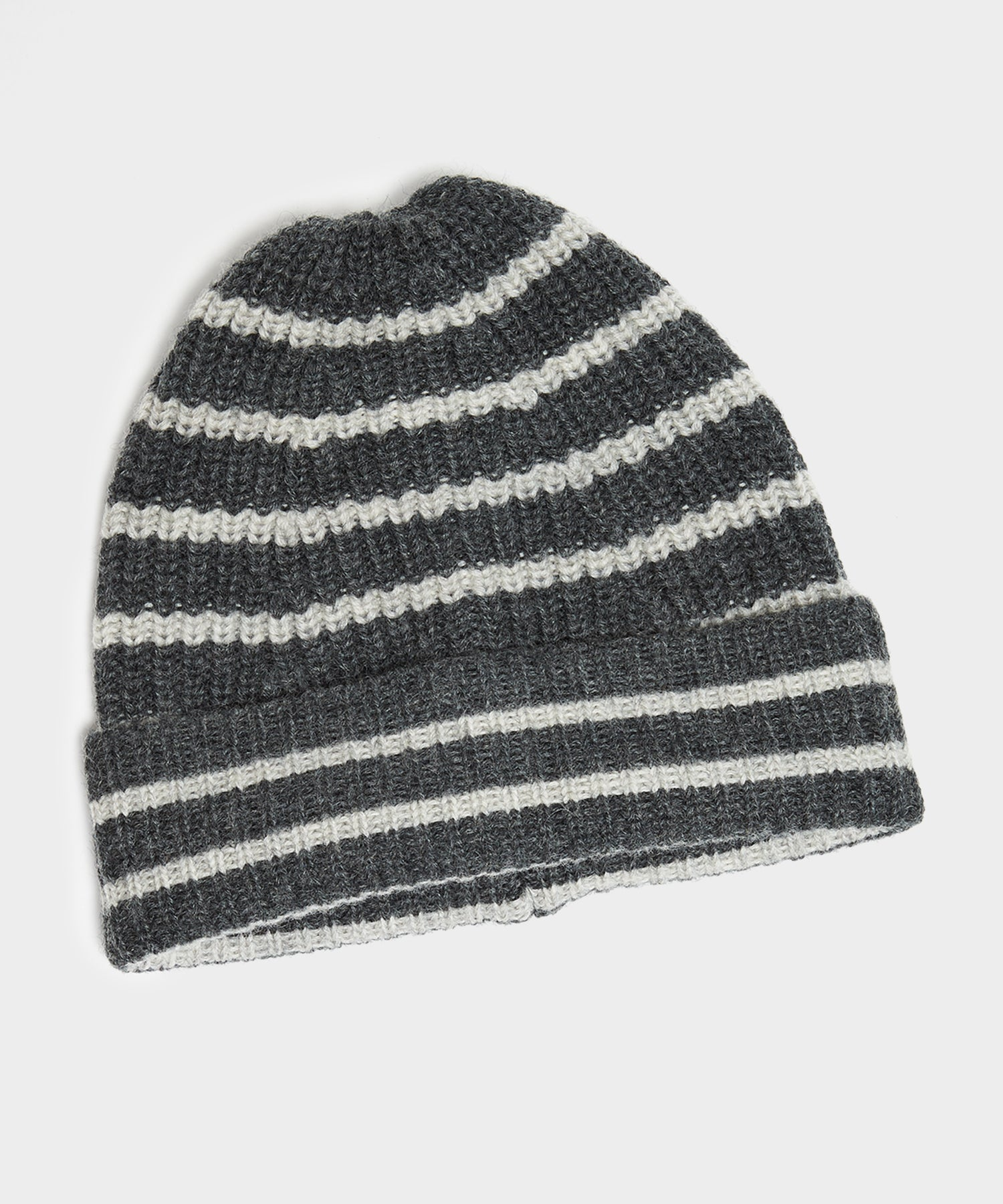 Drake's Lambswool Stripe Beanie in Grey