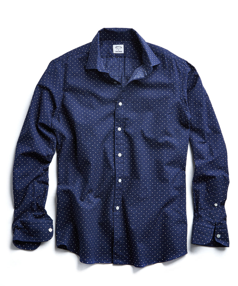 Made in USA Hamilton + Todd Snyder Seersucker Dot Shirt in Navy