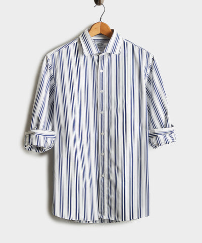 Made in the USA Hamilton + Todd Snyder Multitrack Stripe Shirt in Blue