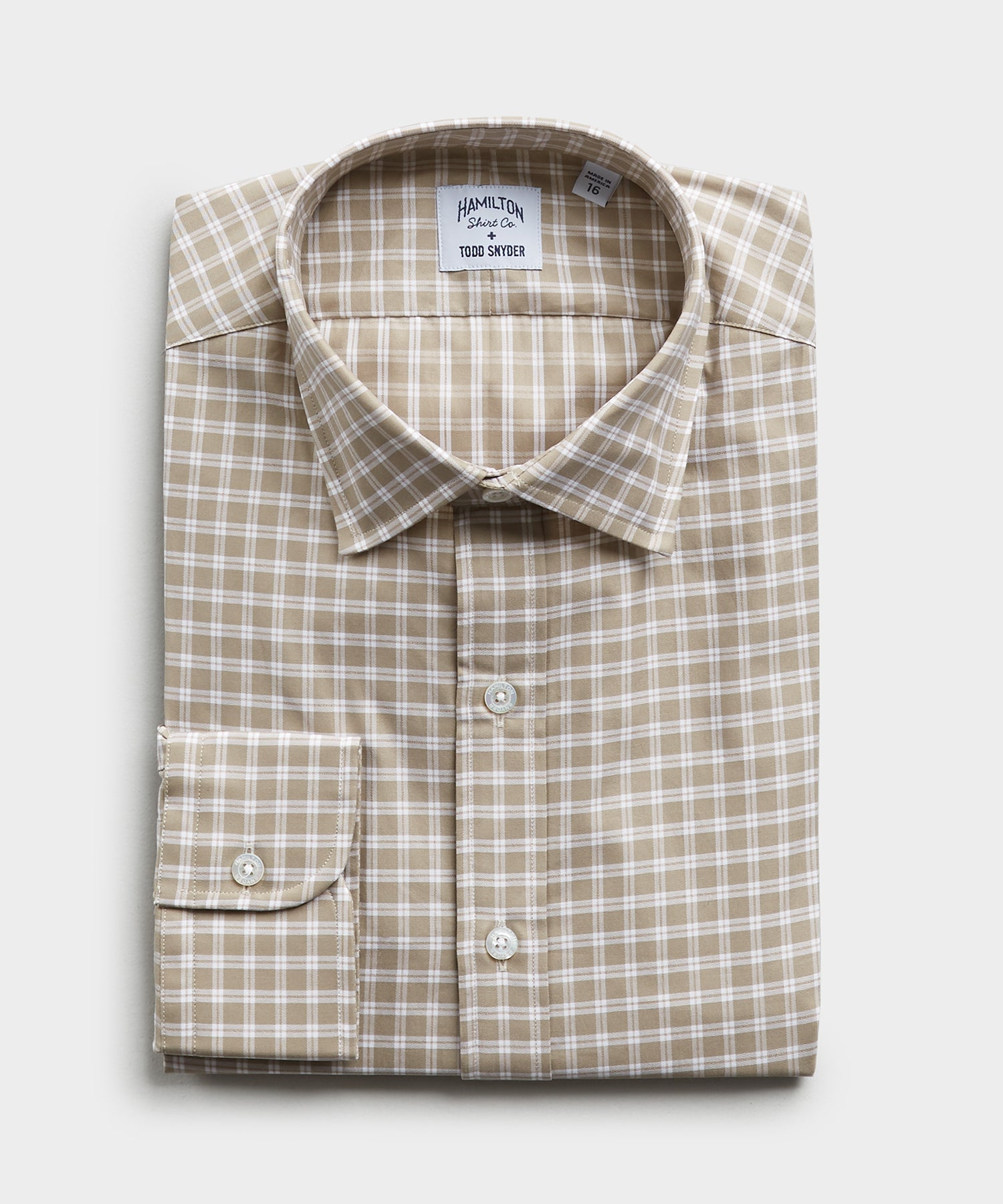 Made in the USA Hamilton + Todd Snyder Wallace Plaid Shirt in Tan