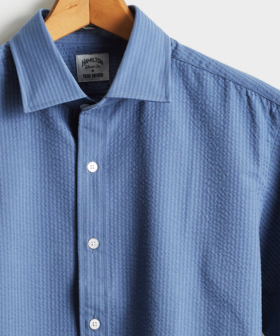 Made in the USA Hamilton + Todd Snyder Blue Puckered Shirt