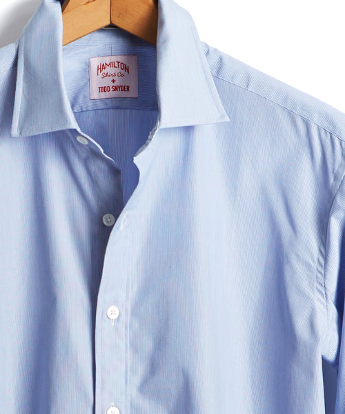 Made in the USA Hamilton + Todd Snyder Microstripe Dress Shirt in Blue