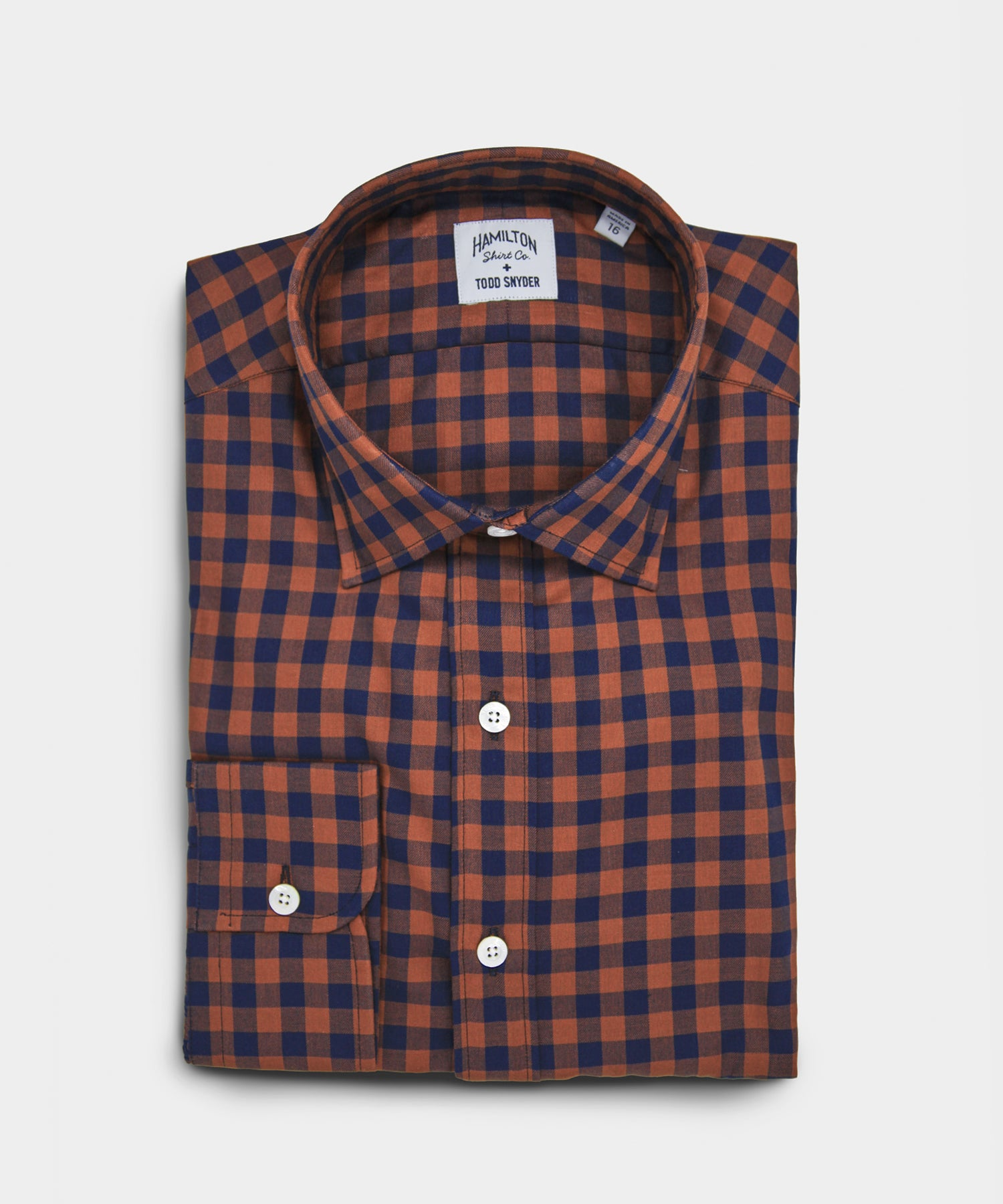 Made in the USA Hamilton + Todd Snyder Chestnut Navy Gingham Dres Shirt