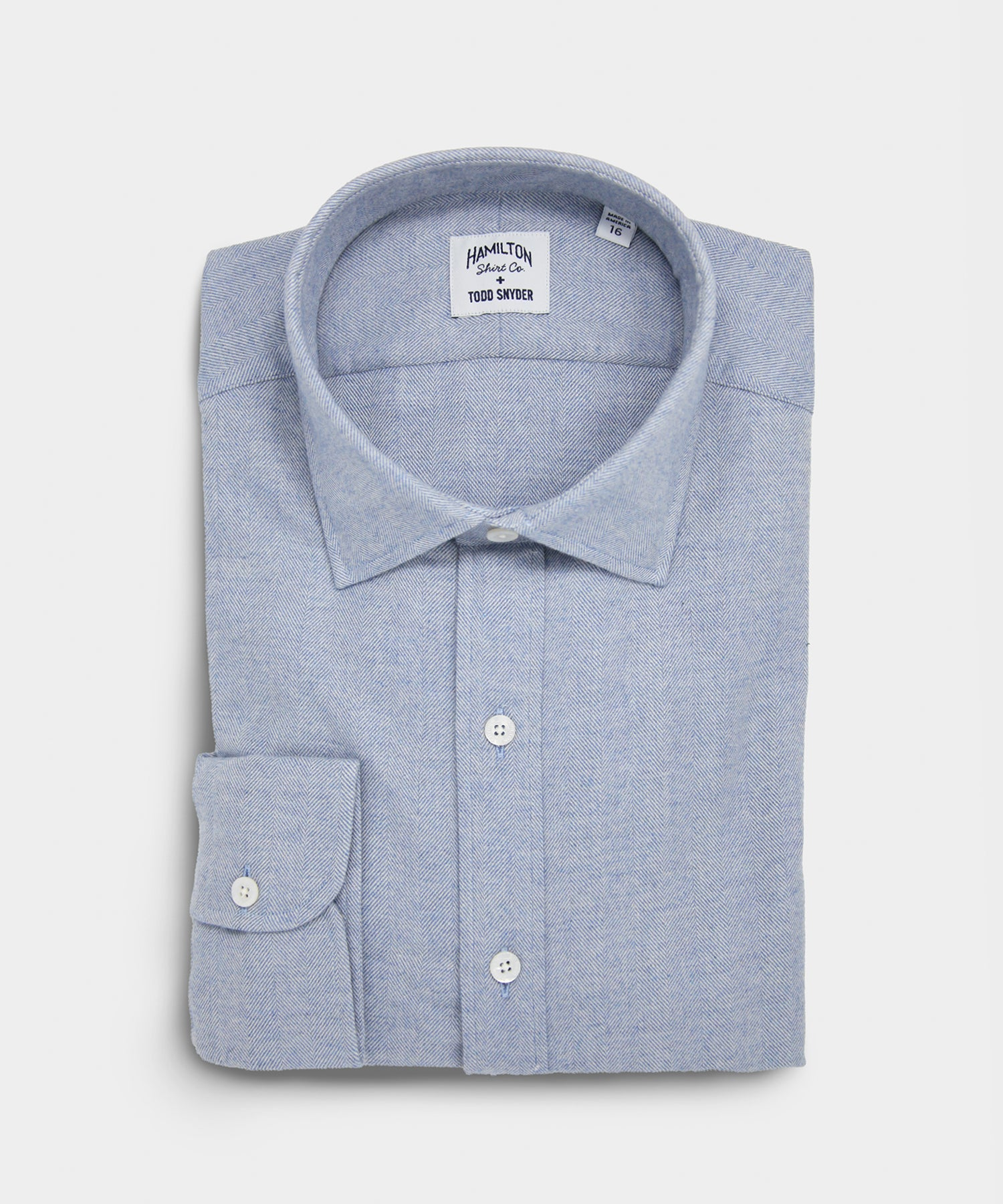 Made in the USA Hamilton + Todd Snyder Light Blue Herringbone Shirt