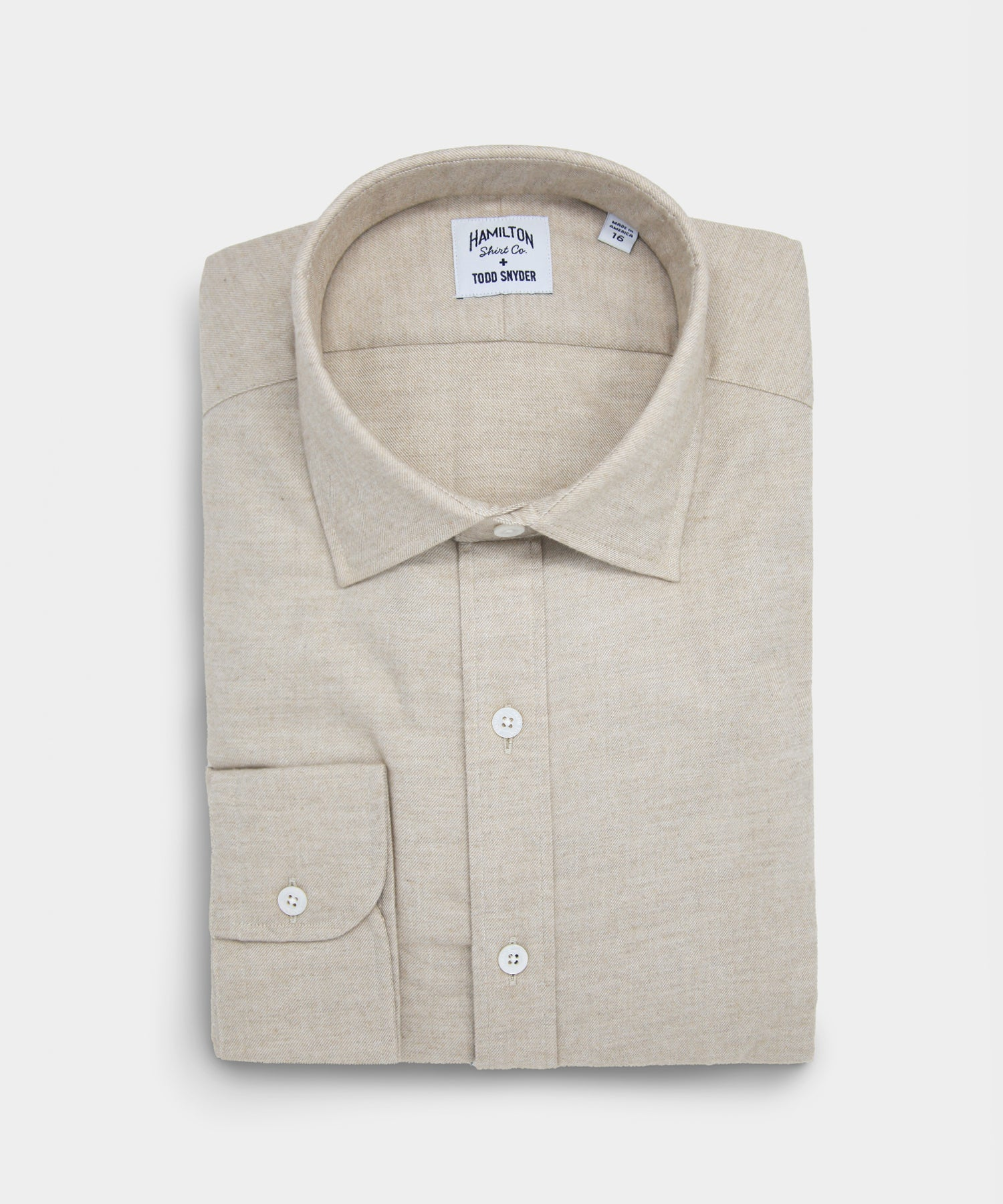 Made in the USA Hamilton + Todd Snyder Solid Beige Dress Shirt