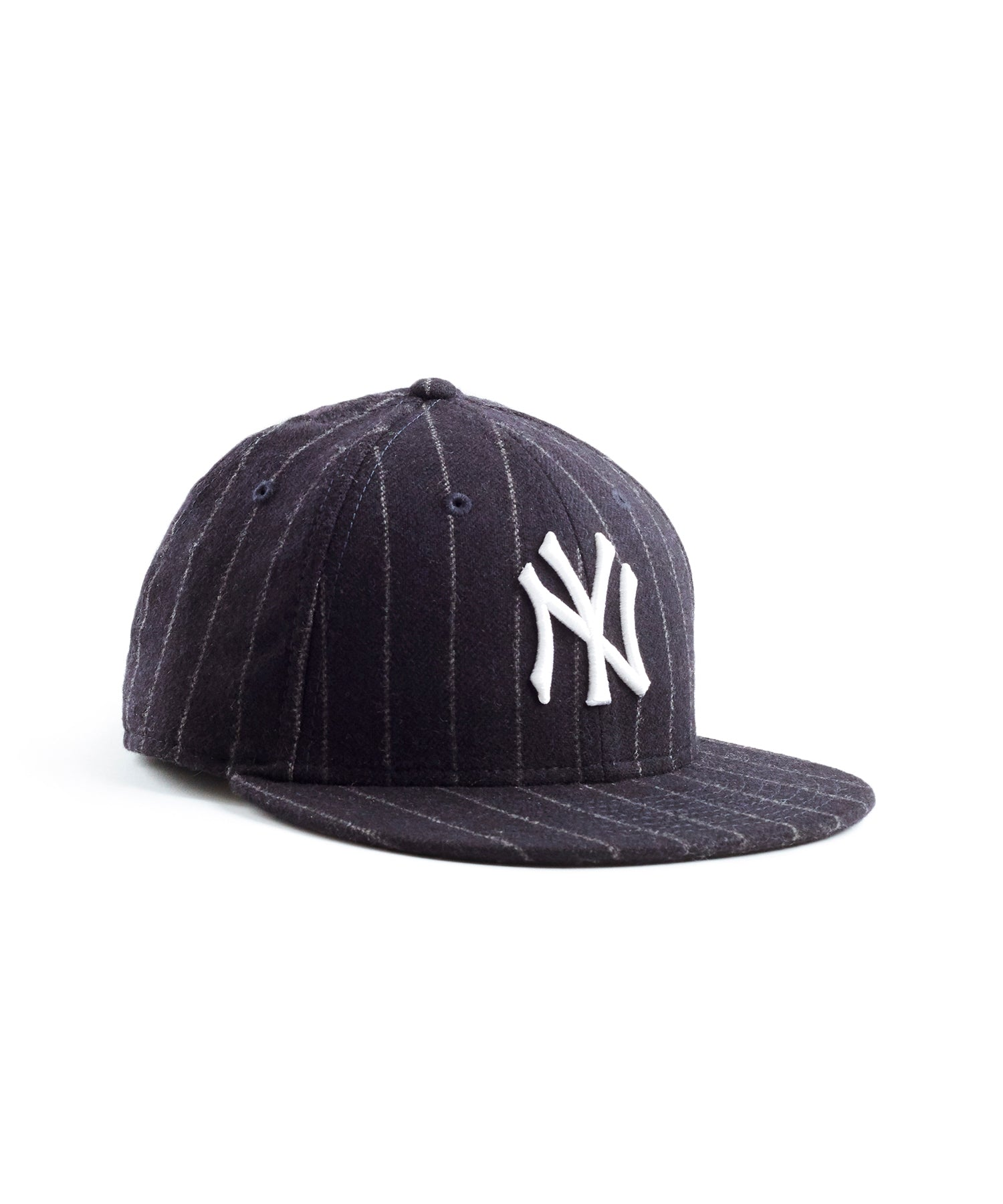 Exclusive New Era New York Yankees Cap in Abraham Moon Navy Wool Chalkstripe