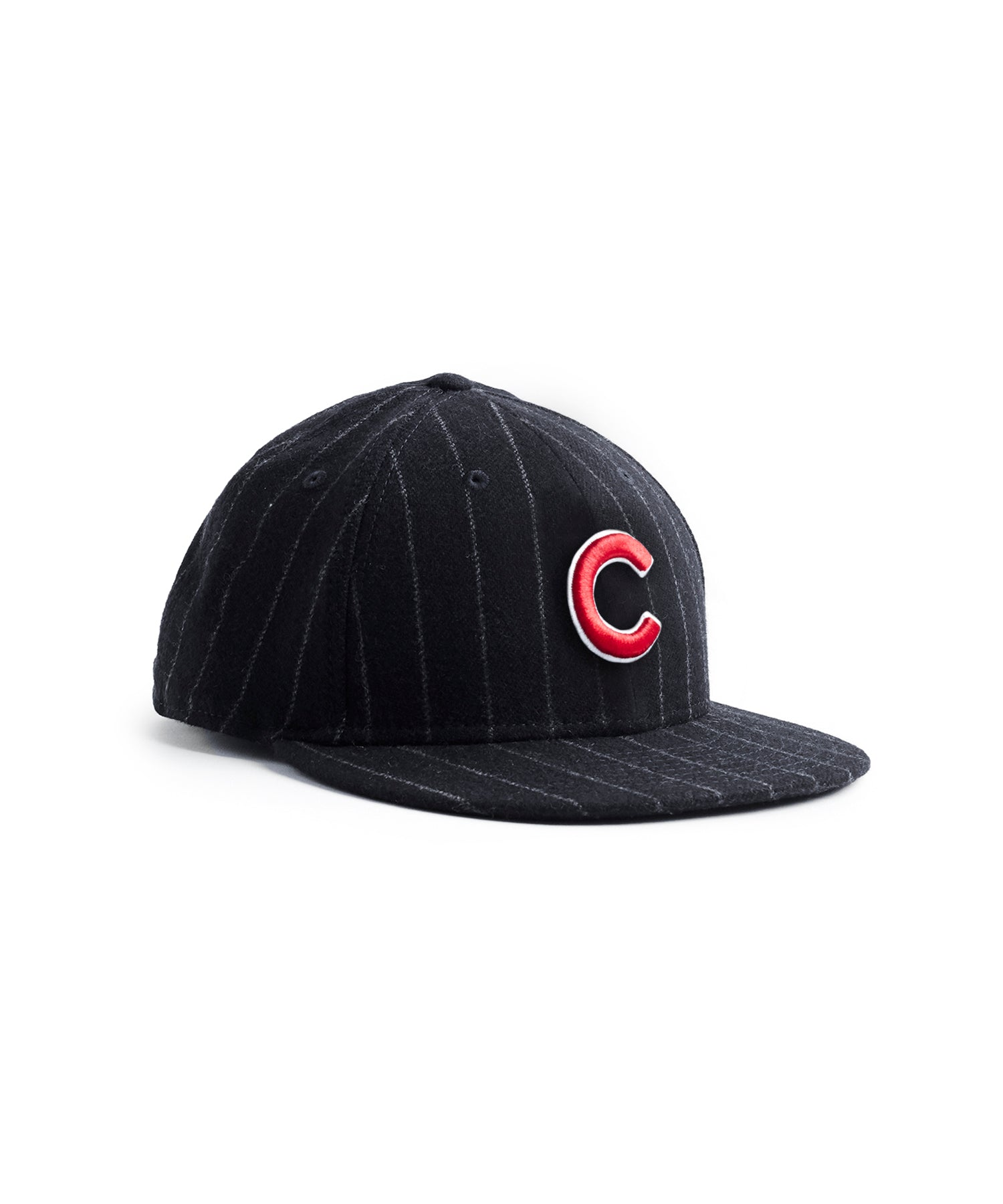 Exclusive New Era Chicago Cubs Cap in Abraham Moon Navy Wool Chalkstripe