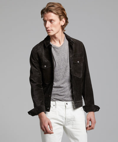 Italian Suede Snap Dylan Jacket in Black