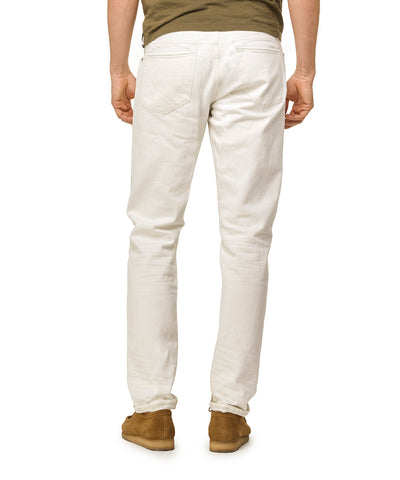 Slim Fit Destroyed Stretch Selvedge Denim in White