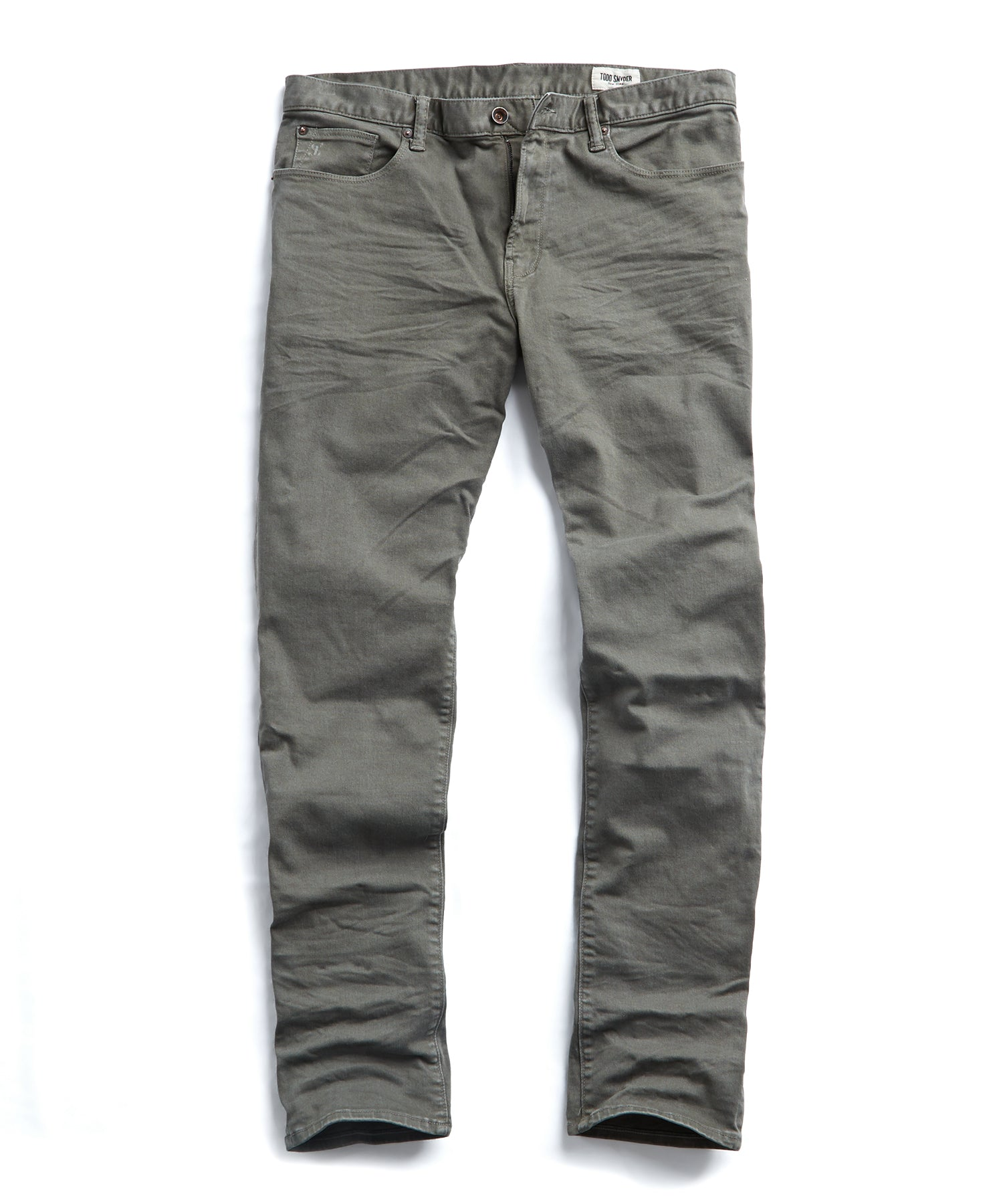 Slim Fit 5-Pocket Garment-Dyed Stretch Twill in Moss