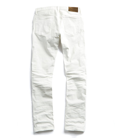 Slim Fit 5-Pocket Garment-Dyed Stretch Twill in Off White