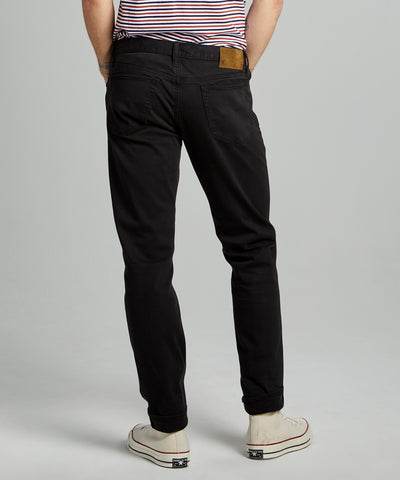 Slim Fit 5-Pocket Garment Dyed Stretch Twill in Faded Black