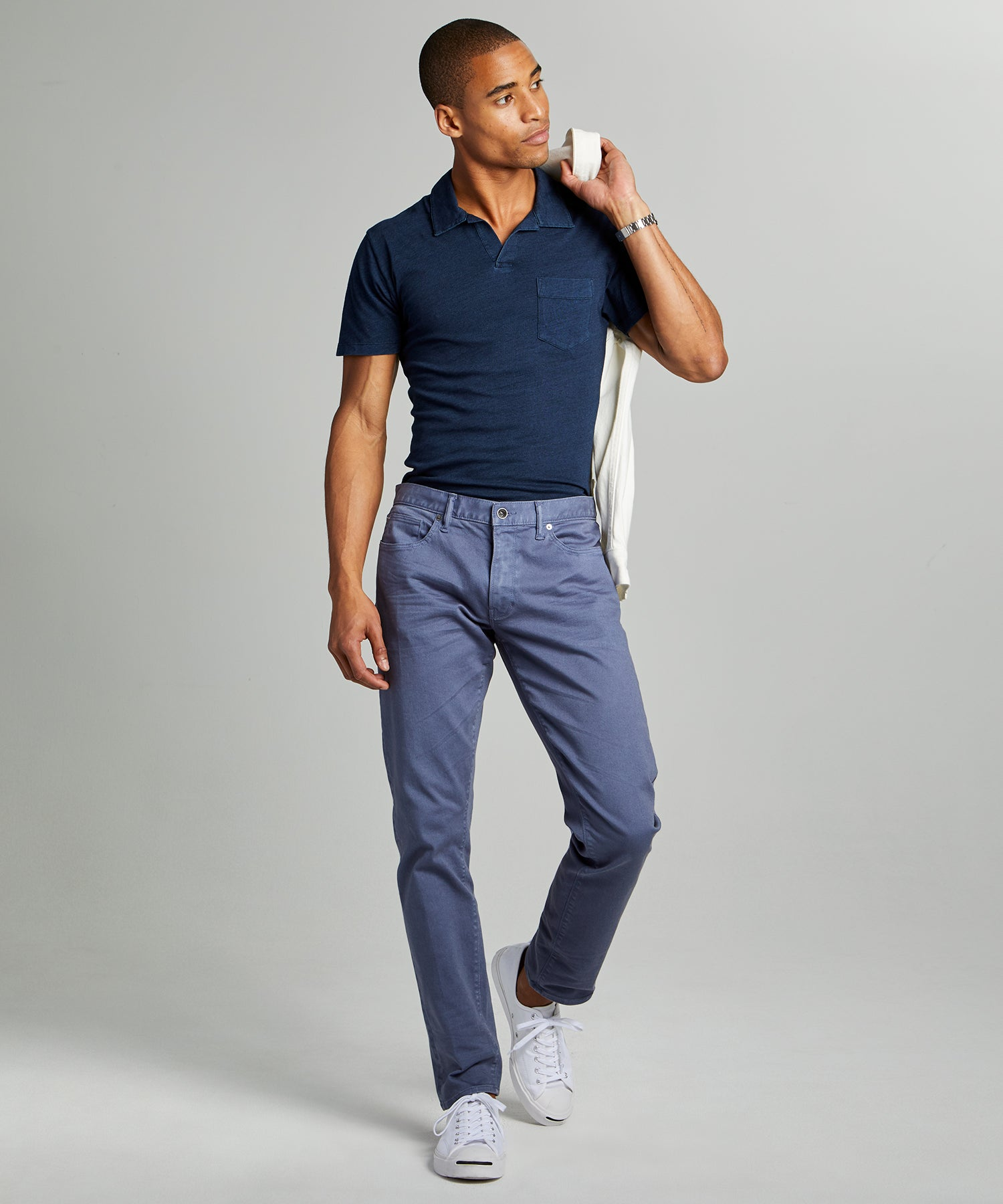 Slim Fit 5-Pocket Garment-Dyed Stretch Twill in Cadet Blue