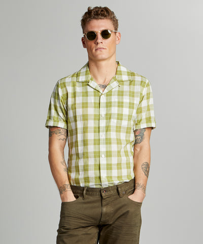 Vintage Plaid Camp Collar Short Sleeve Shirt in Green