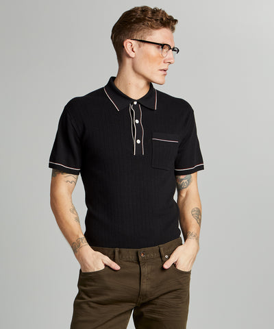 Italian Cotton Silk Tipped Ribbed Polo Sweater in Black