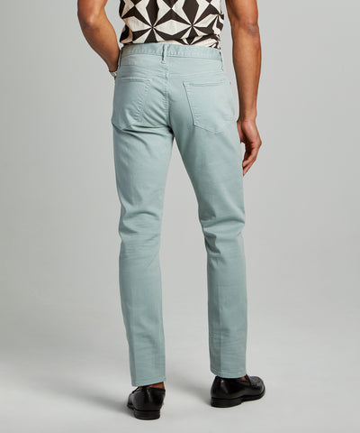 Slim Fit 5-Pocket Garment-Dyed Stretch Twill in Pistachio