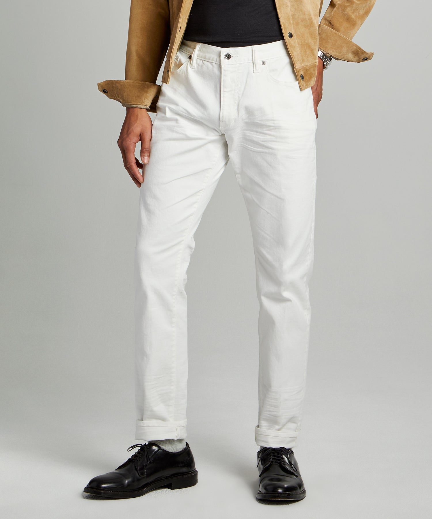 Slim Fit 5-Pocket Garment-Dyed Stretch Twill in White