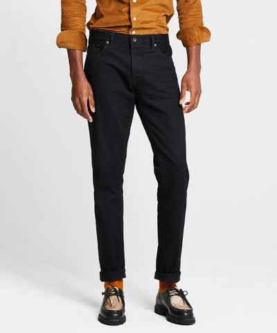 Slim Fit Japanese Stretch Selvedge Jean in Black Rinse