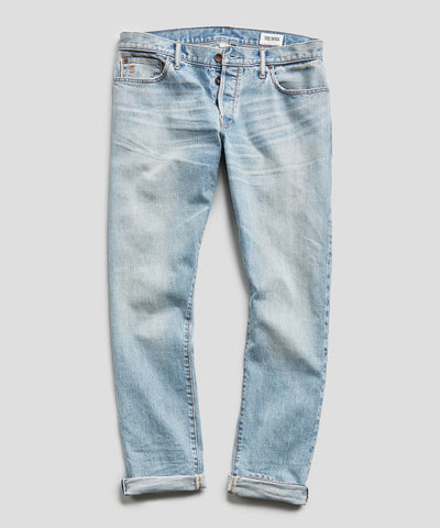 Slim Fit Japanese Stretch Selvedge Jean in Vintage Faded Indigo Wash