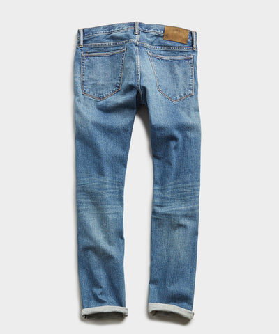 Straight Fit Japanese Stretch Selvedge Jean in Medium Indigo