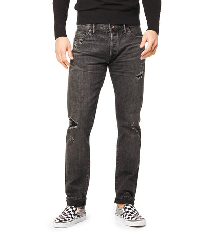 Slim Fit Destroyed Japanese Stretch Selvedge Denim in Black