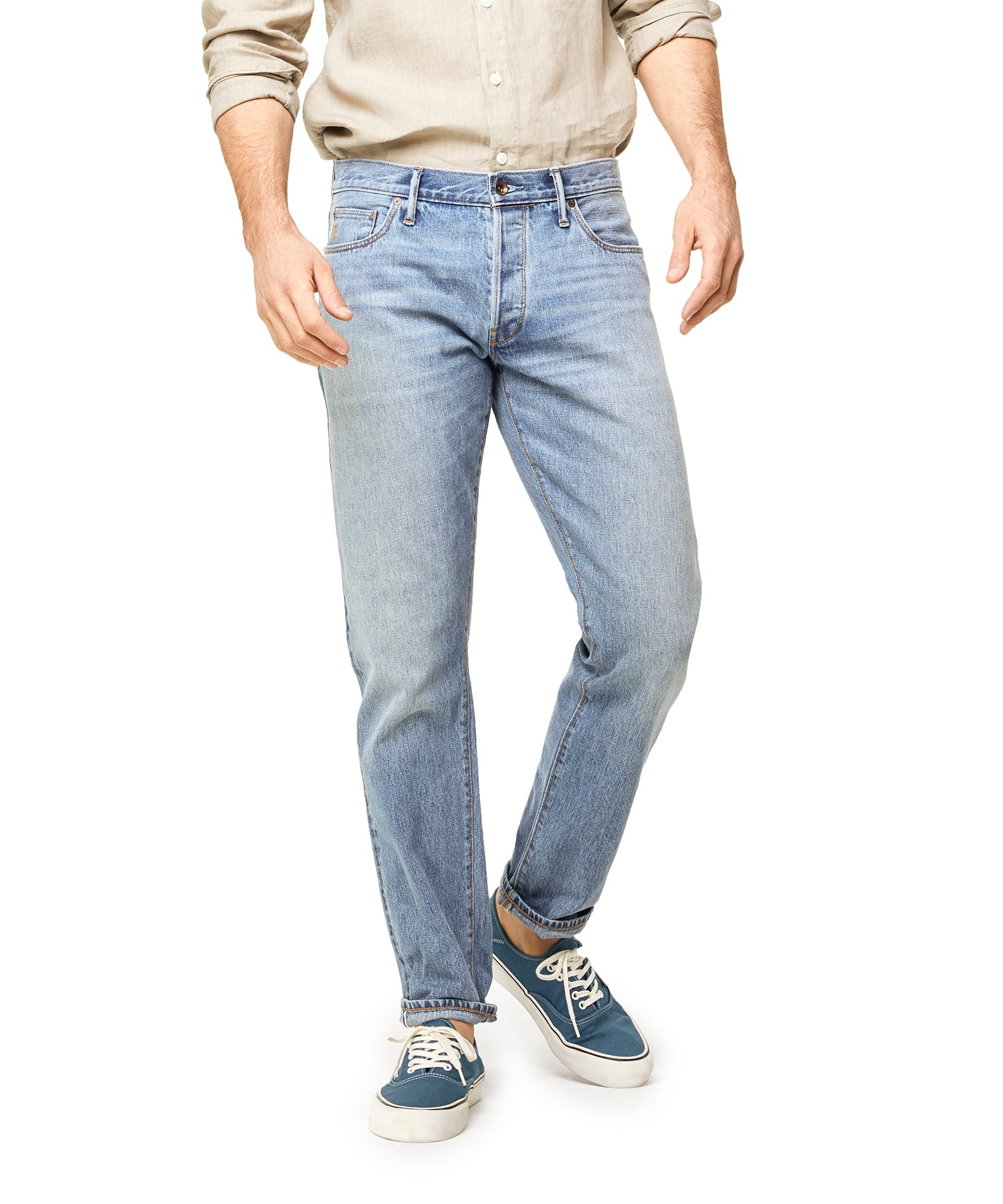 Japanese Stretch Selvedge Denim in Stone Wash